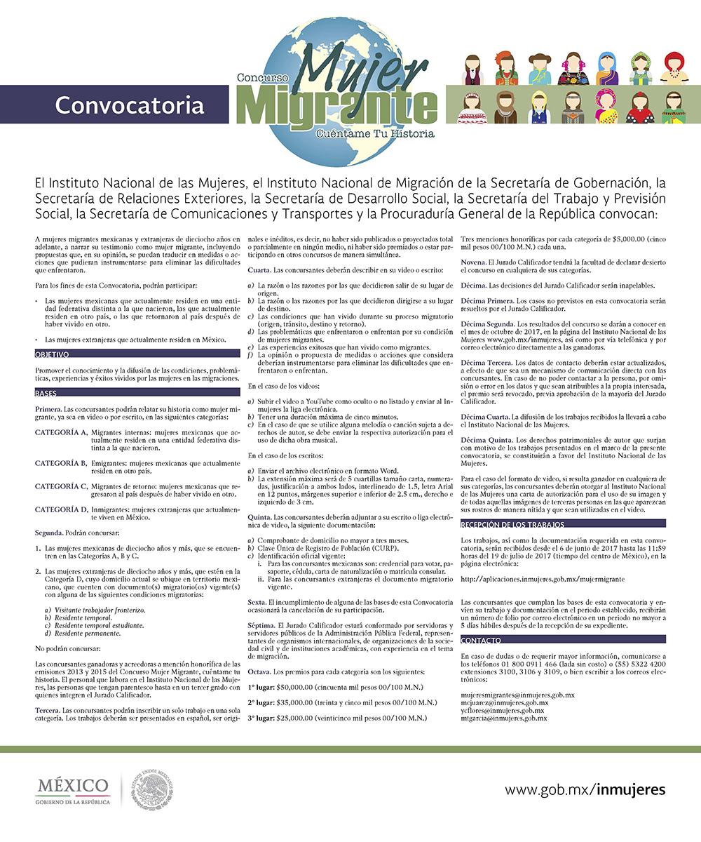 Convocatoria del concurso mujer migrante cu ntame tu for Mexterior convocatorias
