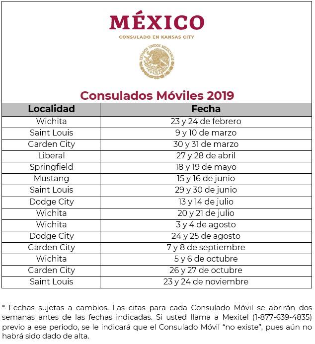 Calendario de Consulados Móviles 2019