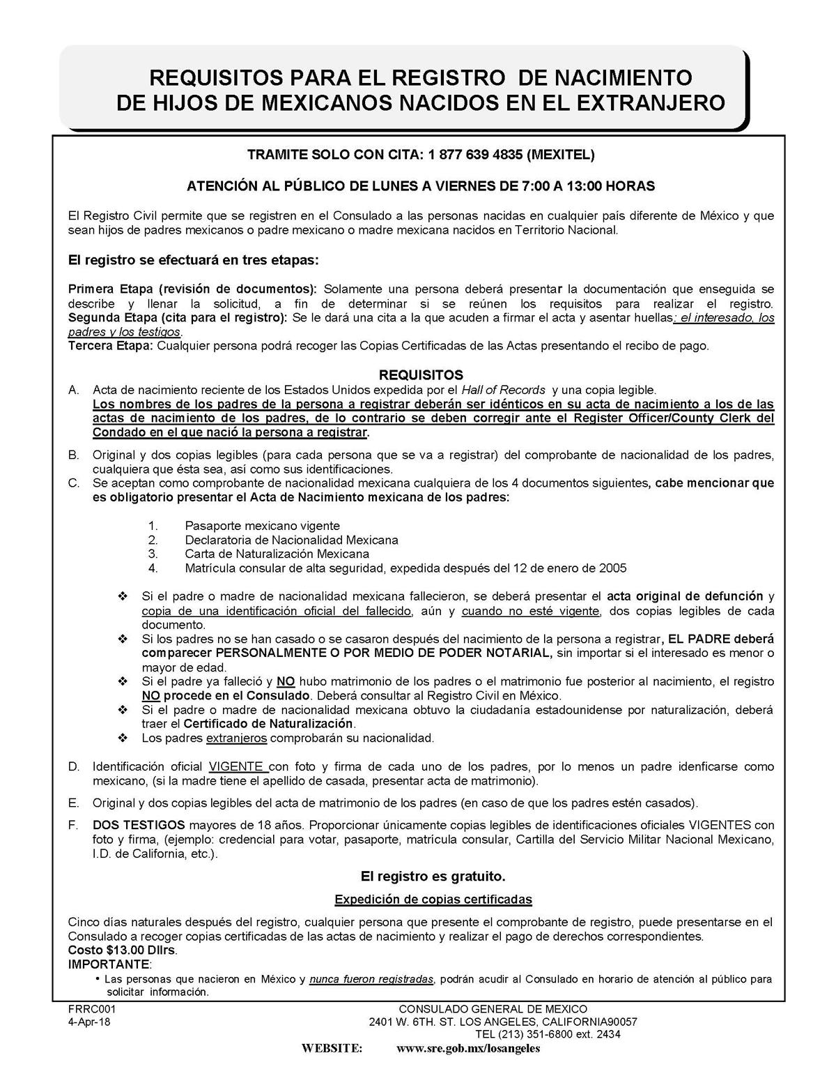 Registro de nacimiento de hijos de mexicanos nacidos en el extranjero